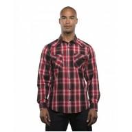 Burnside B8206 Woven Shirts  - Men's Long-Sleeve Western Plaid Shirt