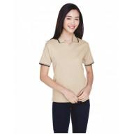 Devon & Jones D140W Polo Shirts - Ladies' Tipped Perfect Pima Interlock Polo