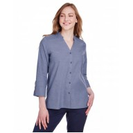 Devon & Jones DG562W Blouses - Ladies' Crown Collection™ Stretch Pinpoint Chambray 3/4 Sleeve Blouse