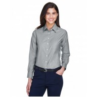 Harriton M600W Shirts - Ladies' Long-Sleeve Oxford with Stain-Release