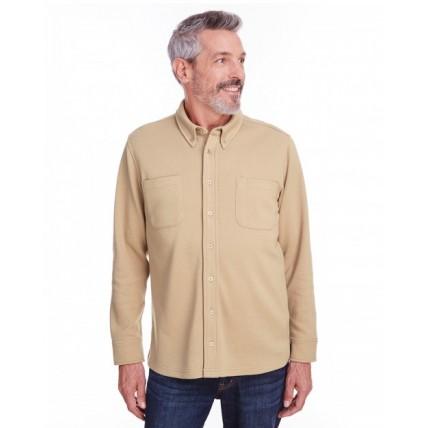 Harriton M708 Jackets - Adult StainBloc™ Pique Fleece Shirt-Jacket