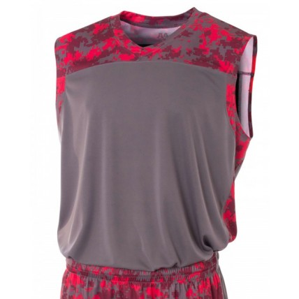 A4 N2345 Tees - Adult Printed Camo Performance Muscle Shirt