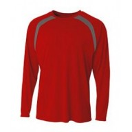 A4 N3003 Tees - Men's Spartan Long Sleeve Color Block Crew Neck T-Shirt